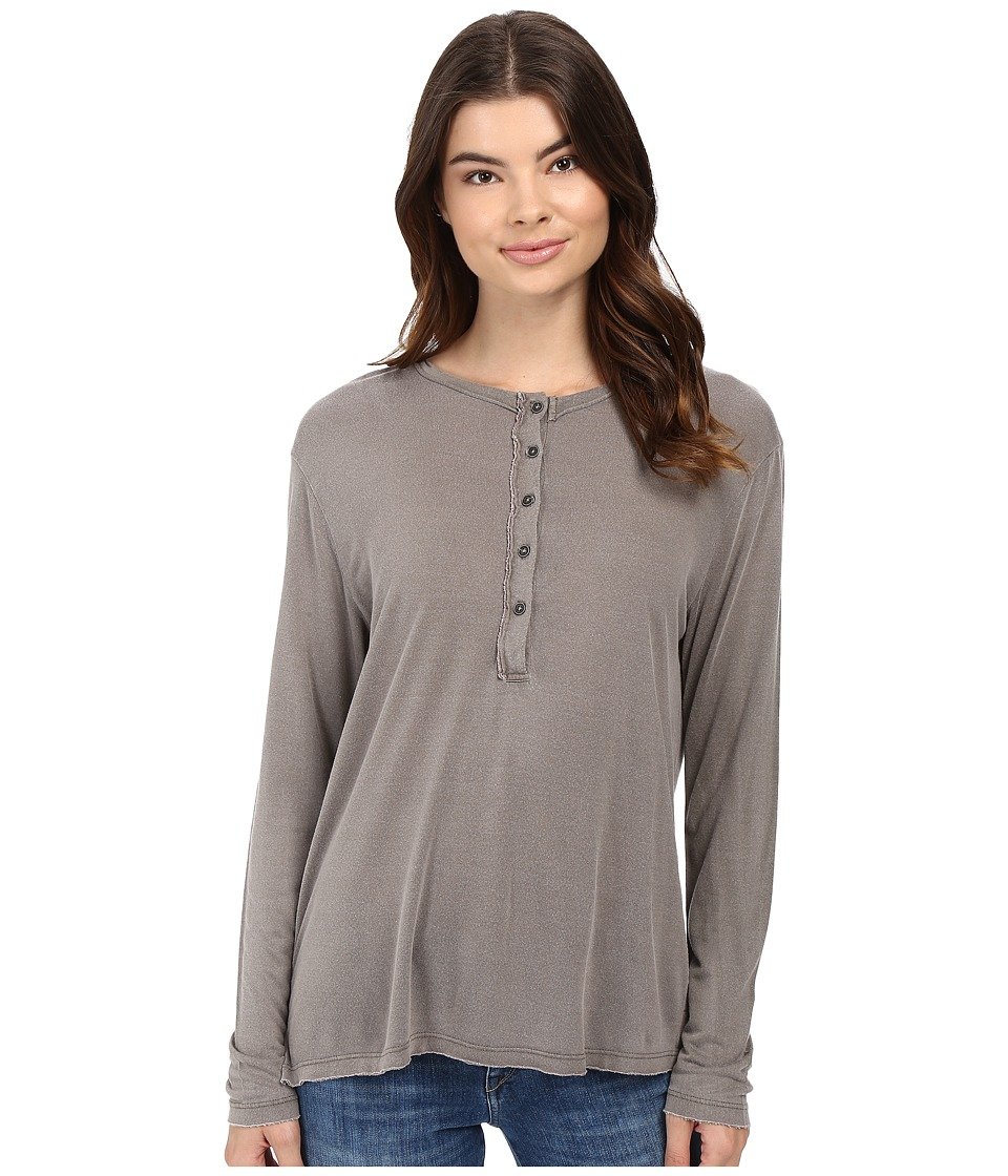 Project Social T - Wilde Long Sleeve Henley (P. Slate) Women's Clothing