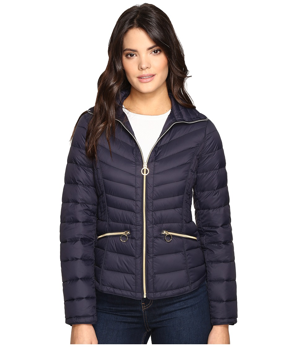 MICHAEL Michael Kors - Short Stand Collar Packable M822042T (Navy) Women's Coat