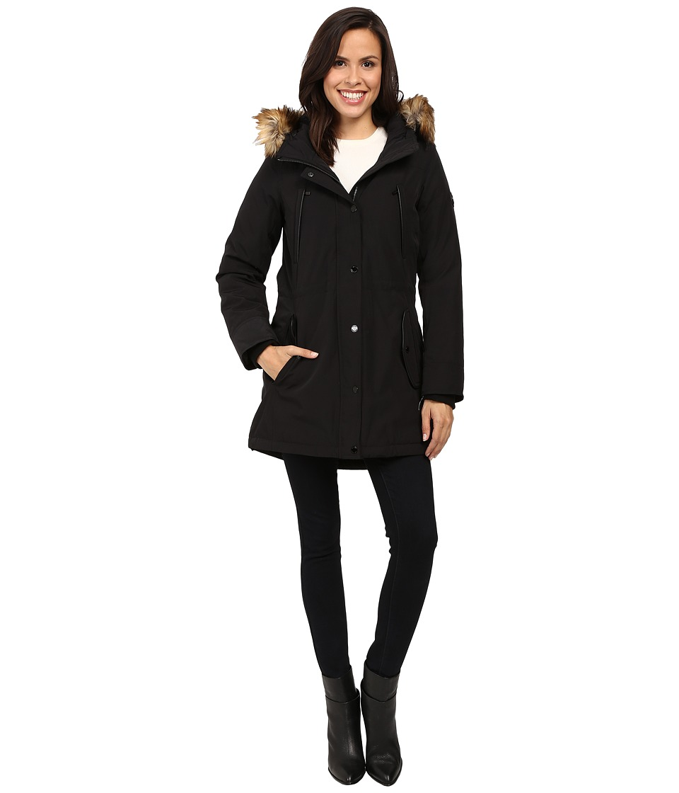MICHAEL Michael Kors - Down w/ Fur Trim Hood M822170T (Black) Women's Coat
