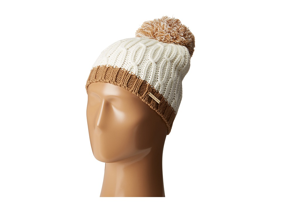 MICHAEL Michael Kors - Color Block Rib/Cable Hat with Pom (Cream/Camel) Caps