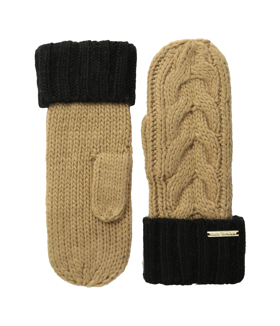 MICHAEL Michael Kors - Color Block Handknit Cable Mitten (Camel/Black) Over-Mits Gloves