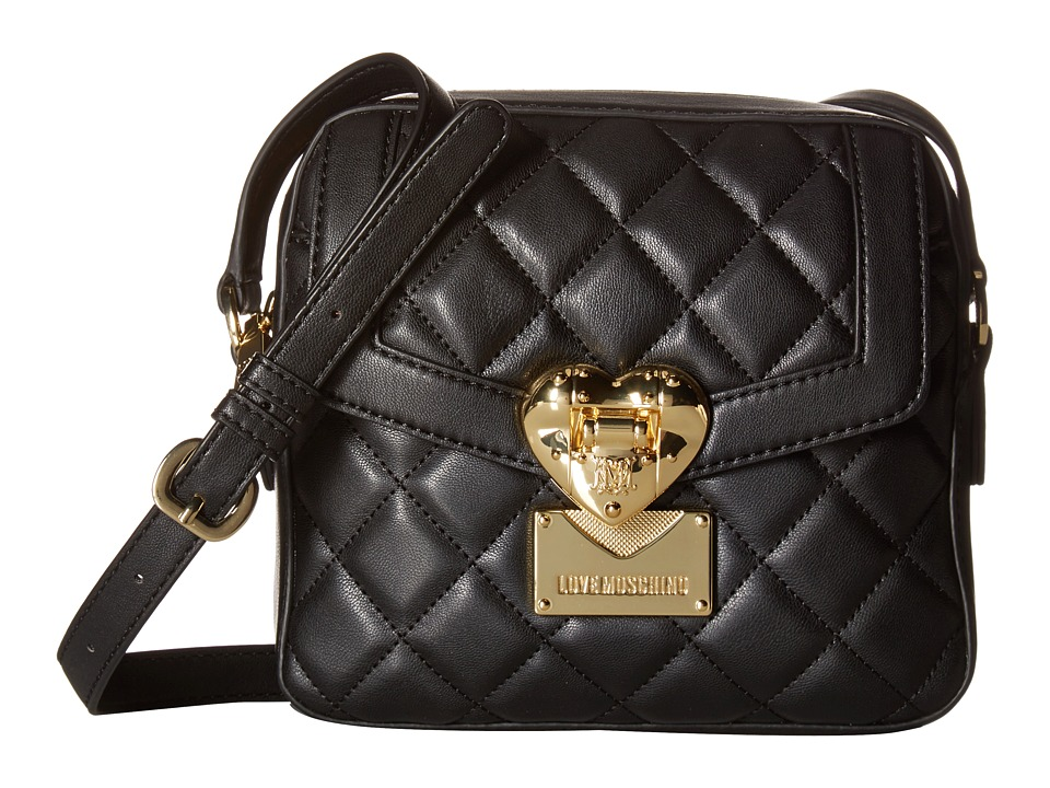 LOVE Moschino - Quilted Emblem Crossbody (Black) Cross Body Handbags