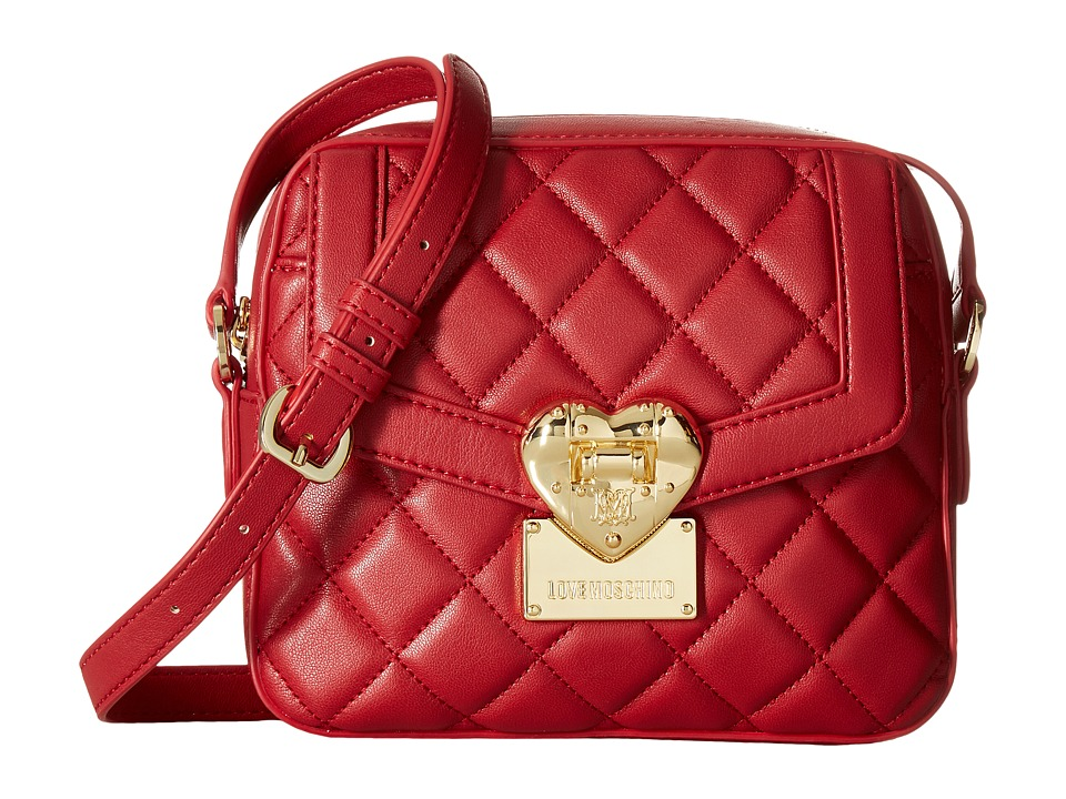 LOVE Moschino - Quilted Emblem Crossbody (Red) Cross Body Handbags