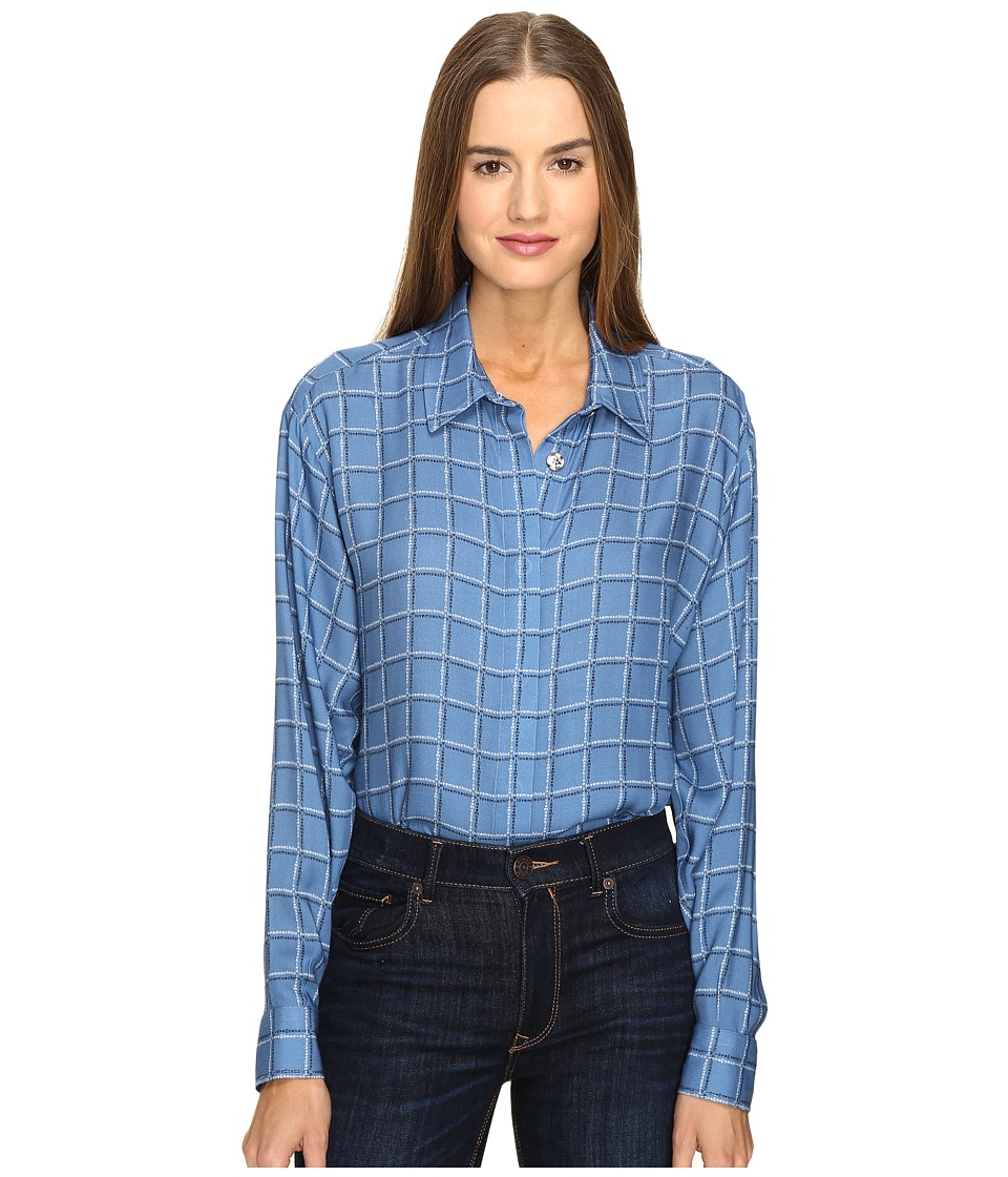 LOVE Moschino - Oversized Plaid Shirt (Blue) Women's Long Sleeve Button Up