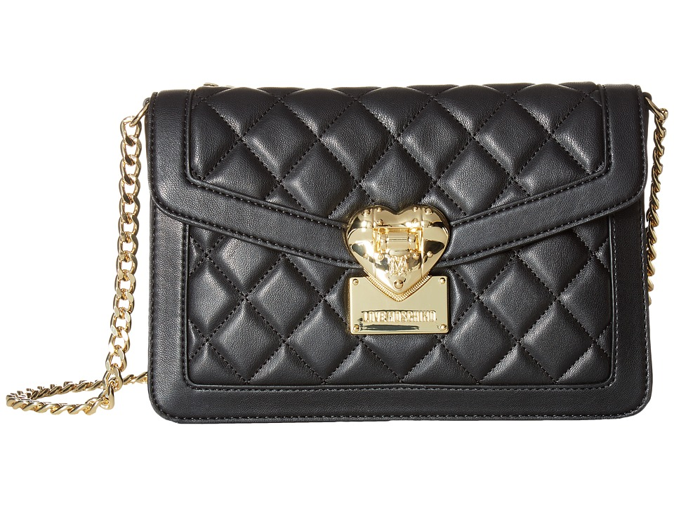 LOVE Moschino - Quilted Envelope Crossbody (Black) Cross Body Handbags