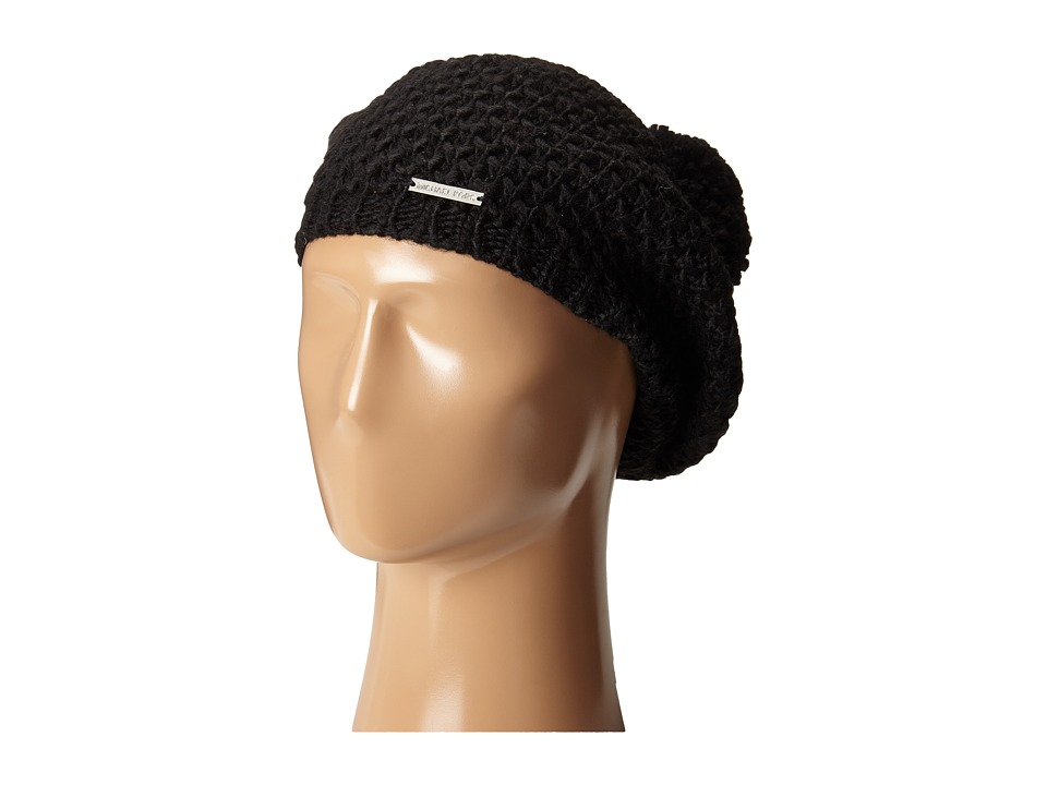 MICHAEL Michael Kors - Tuck Stitch Beret with Pom (Black) Berets