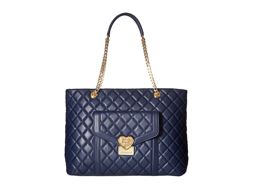 LOVE Moschino - Quilted Tote with Chain (Navy) Tote Handbags