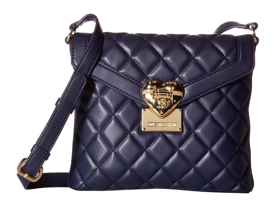 LOVE Moschino - Quilted Emblem Crossbody Camera (Navy) Cross Body Handbags