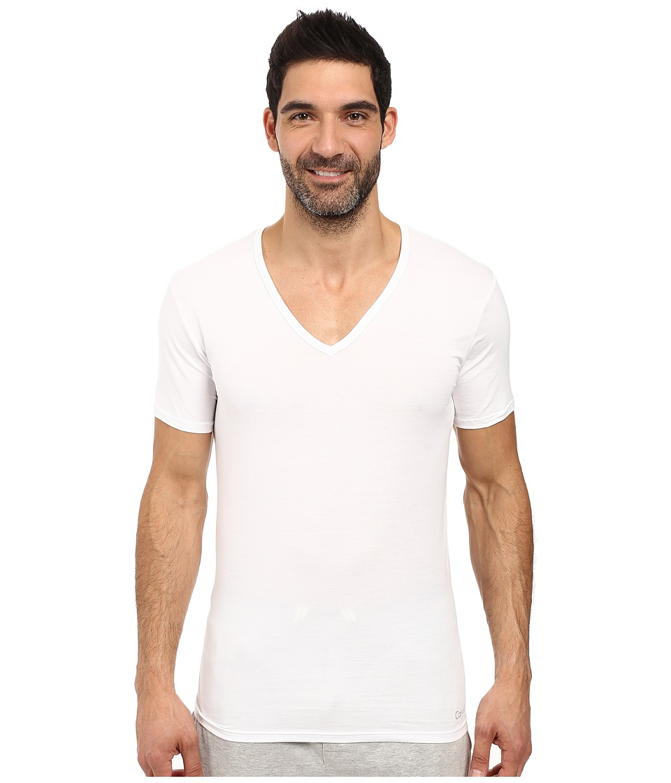 Calvin Klein Underwear - Liquid Stretch Cotton Short Sleeve V-Neck (White) Men's Underwear