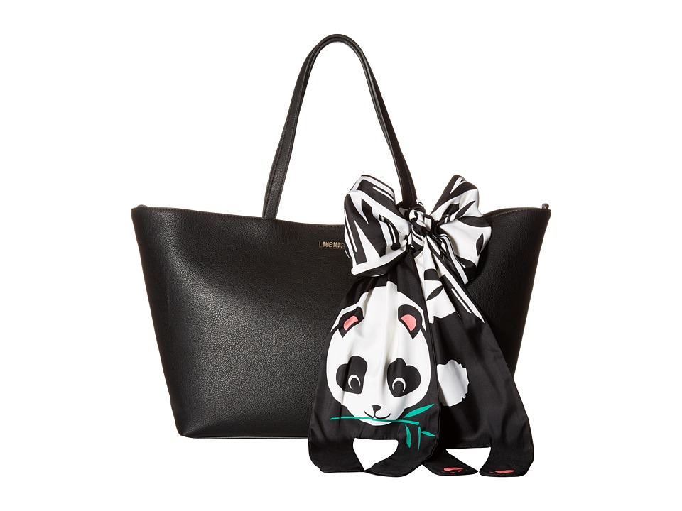 LOVE Moschino - Animal Scarf Tote (Panda) (Black) Tote Handbags