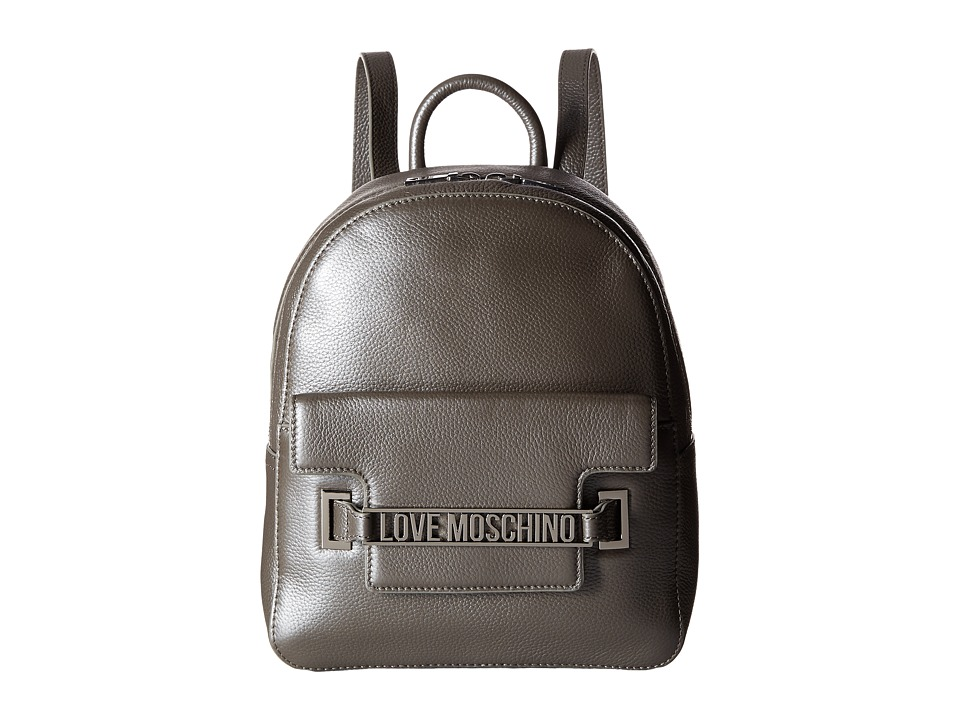 LOVE Moschino - Letter Plate Mini Backpack (Silver) Backpack Bags