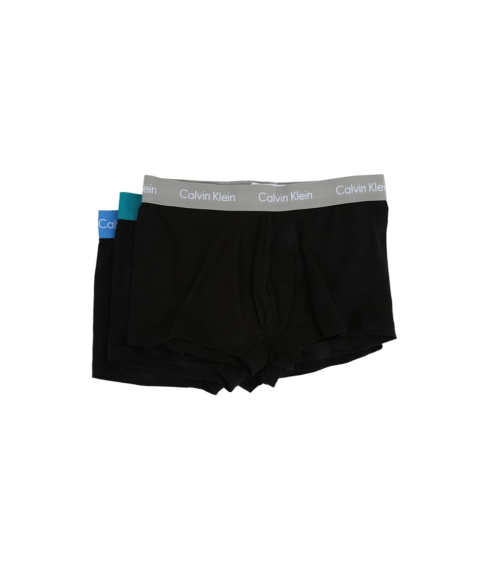 Calvin Klein Underwear - Cotton Stretch Low Rise Trunk 3-Pack NU2664 (Black/Maya Blue/Isle Green/Medium Grey Waistband) Men's Underwear