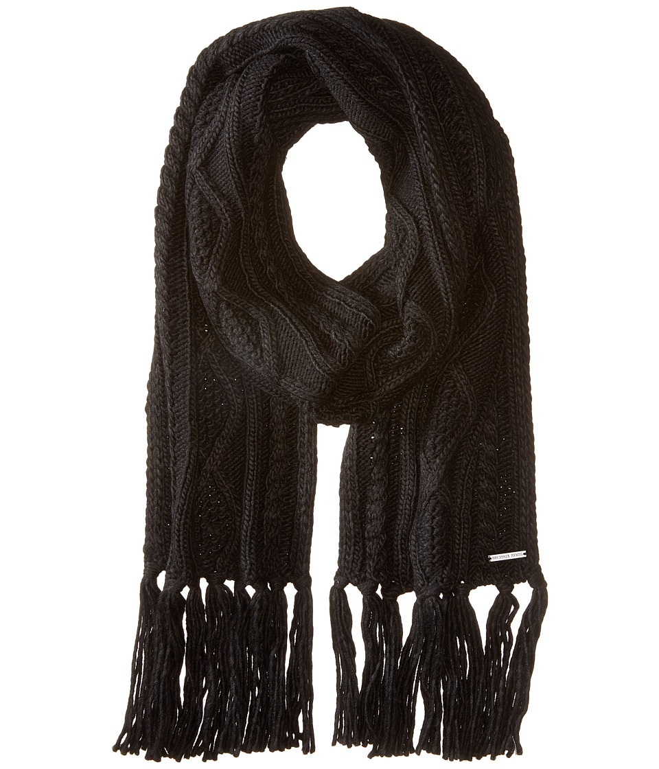 MICHAEL Michael Kors - Classic Hand Knit Cable Muffler (Black) Scarves