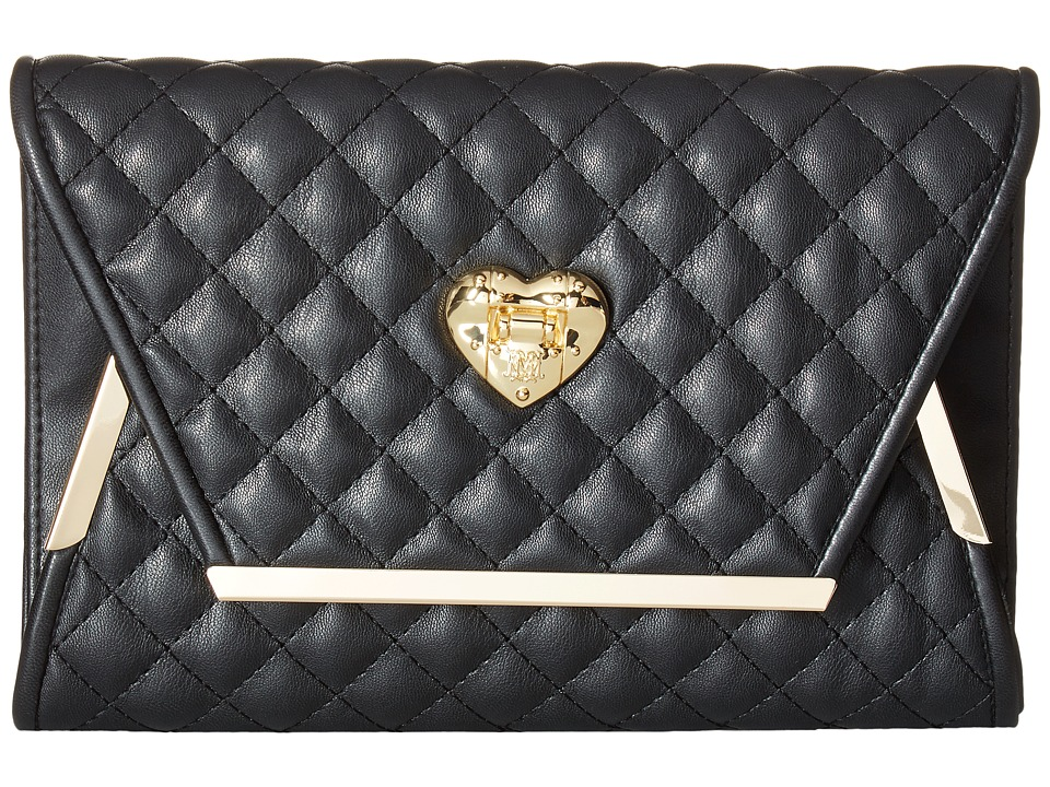 LOVE Moschino - Envelope Clutch with Gold Detailing (Black) Clutch Handbags