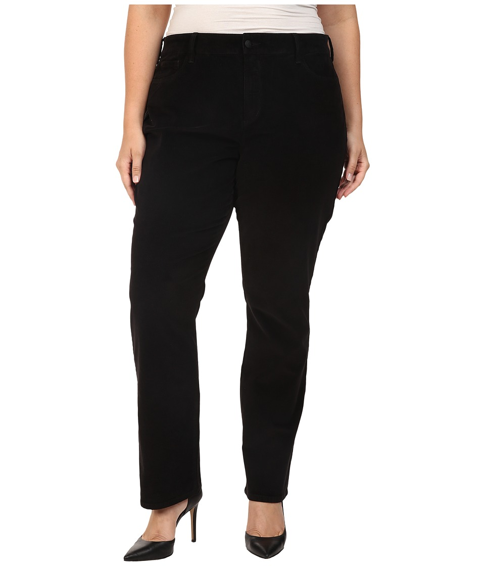 NYDJ Plus Size Plus Size Marilyn Straight Jeans in Corduroy in Black (Black) Women