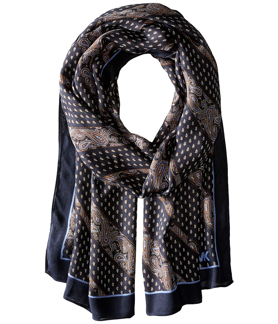 MICHAEL Michael Kors - Wilby Diagonal Oblong (Navy Combo) Scarves