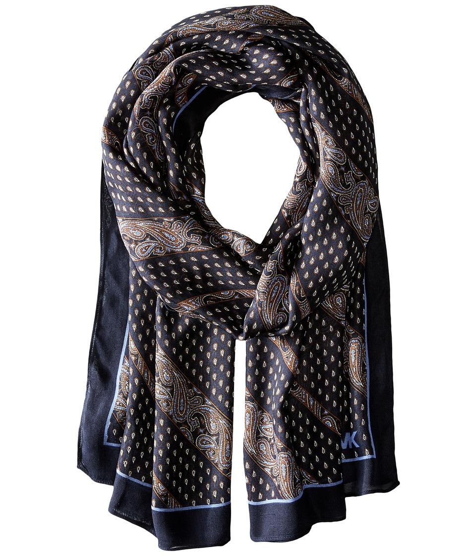 MICHAEL Michael Kors - Wilby Diagonal Oblong (Navy Combo) Scarves