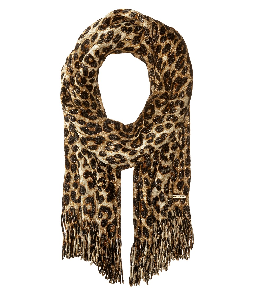 MICHAEL Michael Kors - Large Spotted Cheetah Double Printed Metallic Raschel (Caramel Combo) Scarves