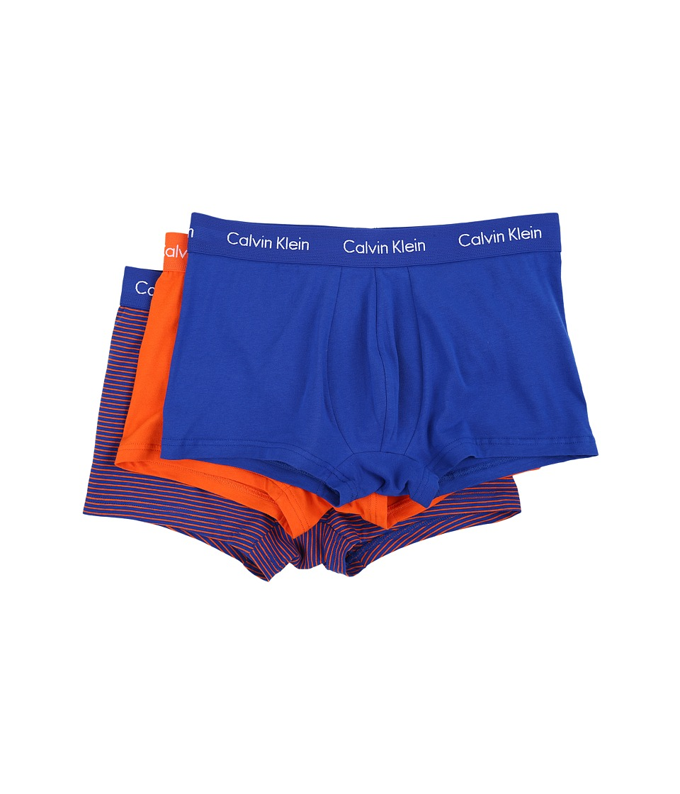 Calvin Klein Underwear - Cotton Stretch Low Rise Trunk 3-Pack NU2664 (Amplified Blue/Amplified Blue/Orange Star Stripe/Orange Star) Men's Underwear