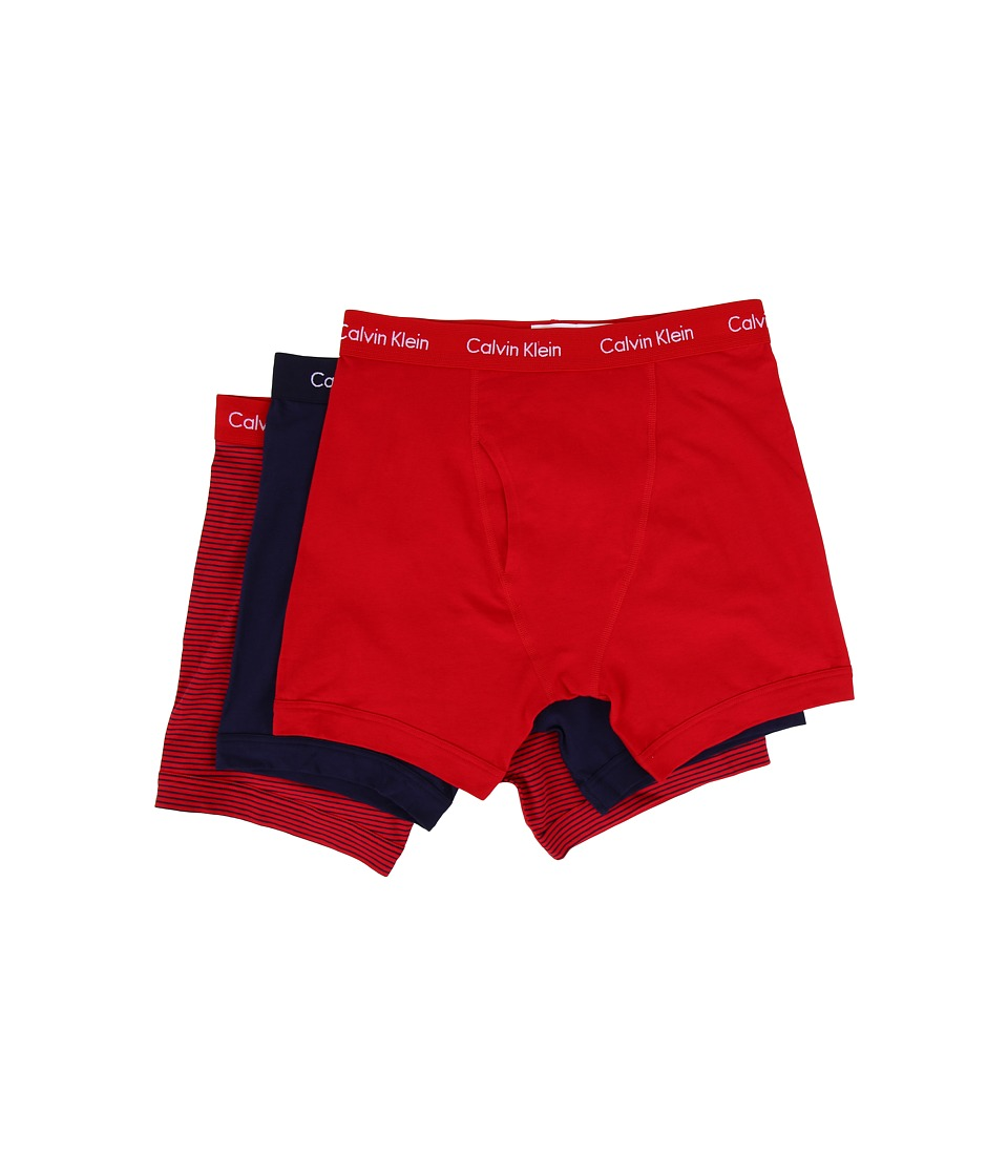 Calvin Klein Underwear - Cotton Stretch Boxer Brief 3-Pack NU2666 (Regal Red/Regal Red/Blue Stripe/Lynx Blue) Men's Underwear