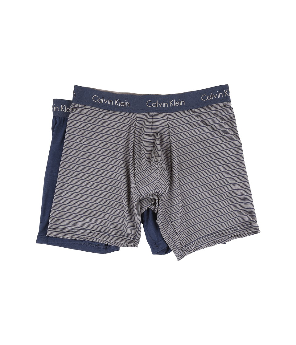 Calvin Klein Underwear - 2-Pack Boxer Brief (Blue Shadow/Blue Shadow/Grey Sky Stripe) Men's Underwear