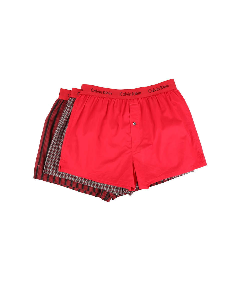 Calvin Klein Underwear - Matrix Slim Fit Boxer (Regal Red Plaid/Solid Regal Red/Barn Stripe) Men's Underwear