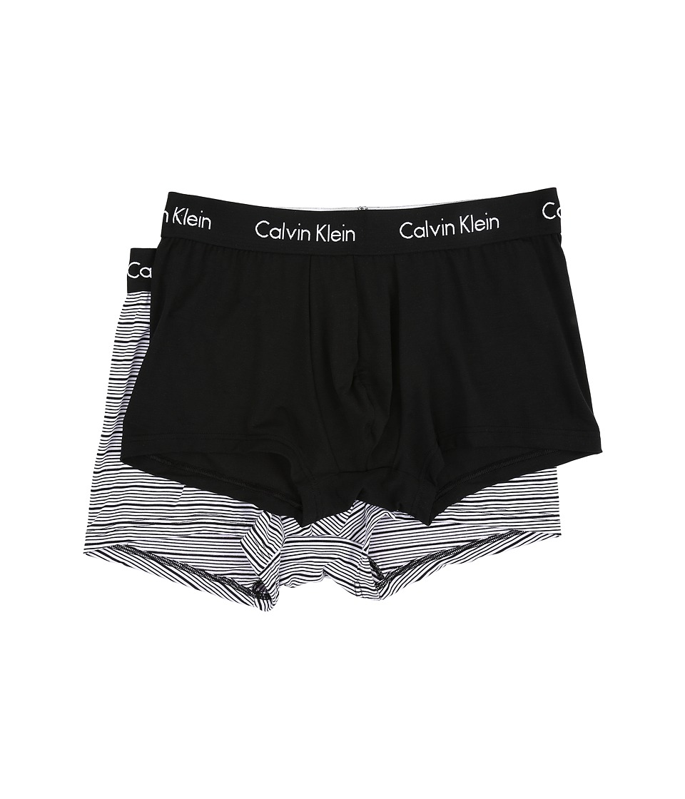 Calvin Klein Underwear - 2-Pack Trunk (Black Solid/Black/White Stripe) Men's Underwear