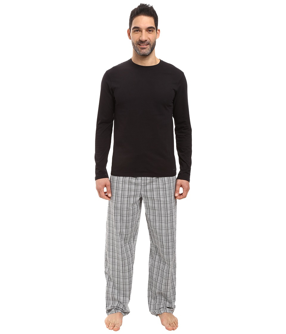 Calvin Klein Underwear - PJ Set Long Sleeve Knit (Jade Plaid/Black/Black Drawcord) Men's Pajama Sets