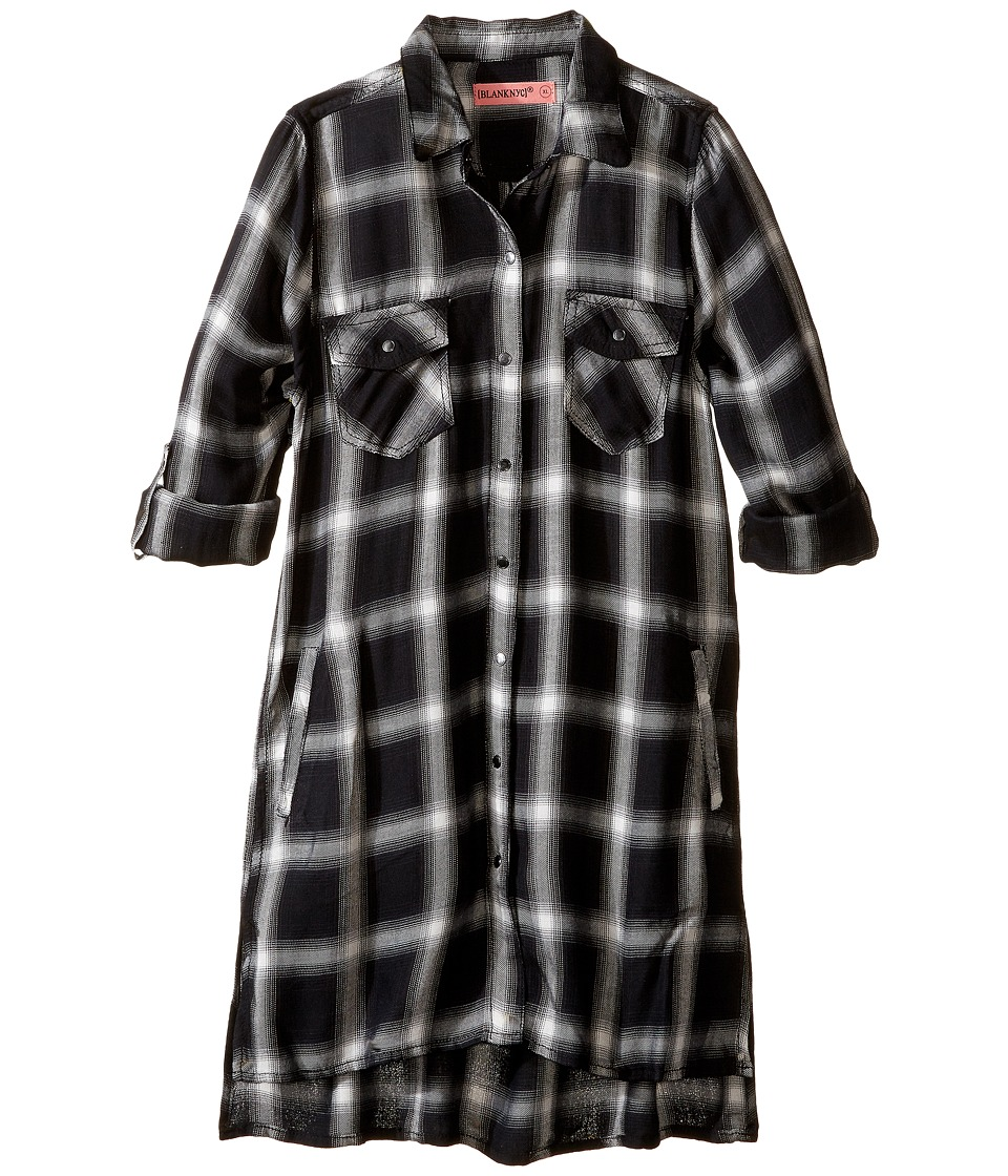 Blank NYC Kids - Plaid Detailed Dress in Old Polaroid (Big Kids) (Black/White) Girl's Dress