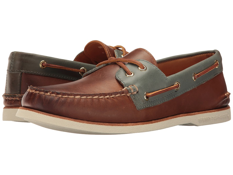 Sperry - Gold A/O 2-Eye Catskill (Tan/Blue) Men's Moccasin Shoes