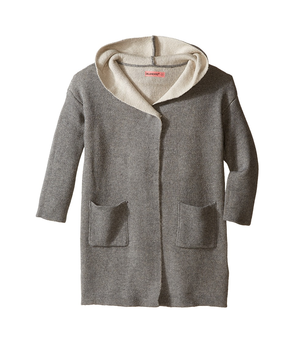 Blank NYC Kids - Hooded Sweater in Chill (Big Kids) (Grey/Ivory) Girl's Sweater