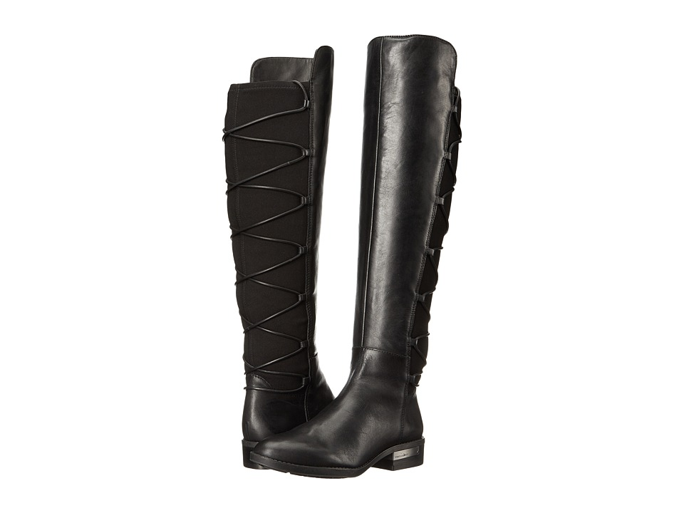 Vince Camuto - Parle (Black Silky Leather/Stretch Neoprene) Women's Boots