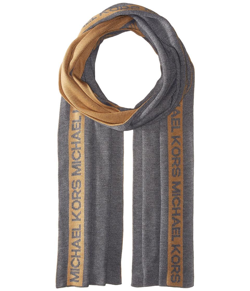 MICHAEL Michael Kors - Reversible Michael Kors Side Stripe Muffler (Camel/Ash) Scarves