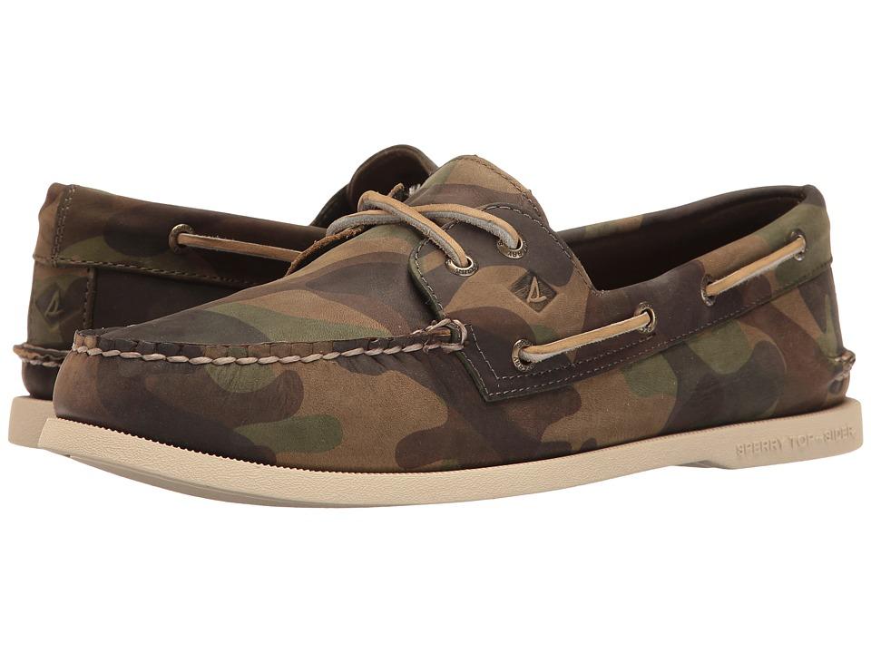 Sperry - A/O 2-Eye Camo (Green Camo) Men's Moccasin Shoes