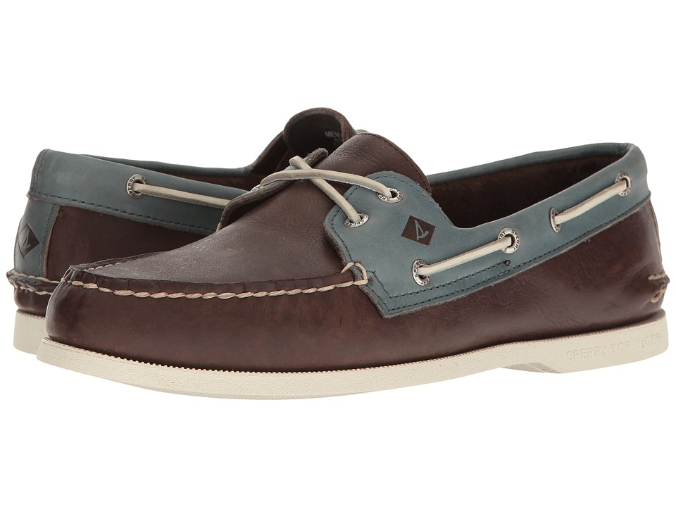 Sperry - A/O 2-Eye Cross Lace (Brown/Blue) Men's Lace up casual Shoes