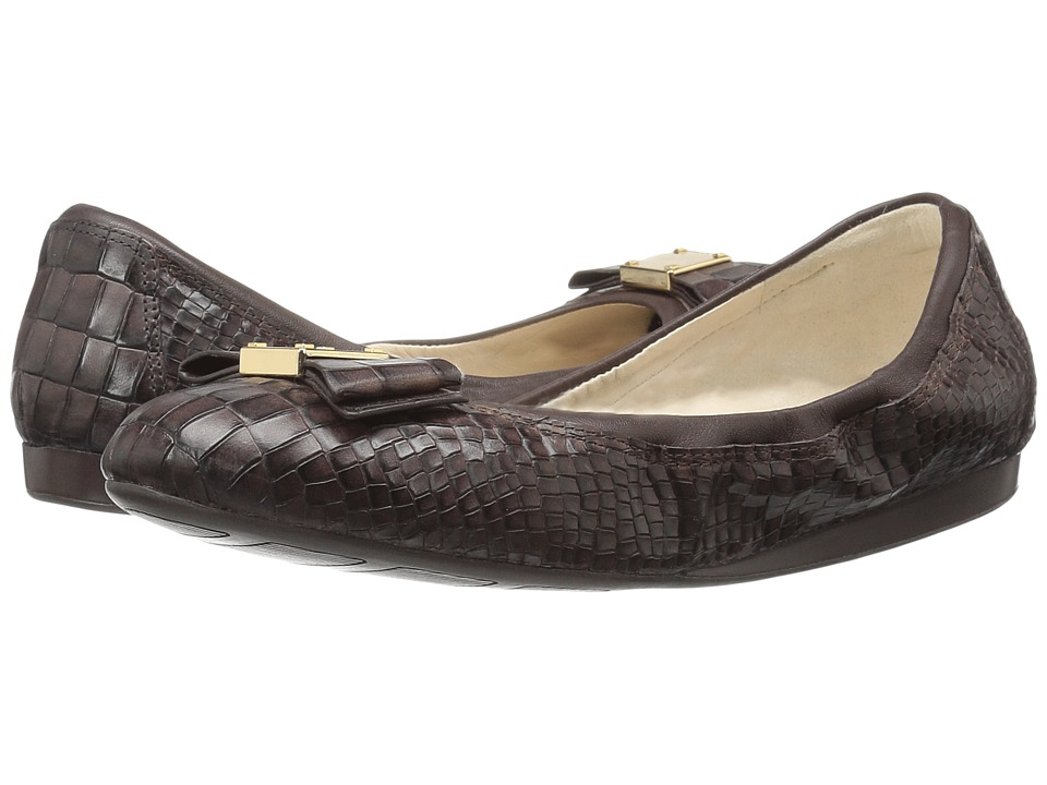Cole Haan - Tali Bow Ballet (Chestnut Croc Print) Women's Slip on Shoes