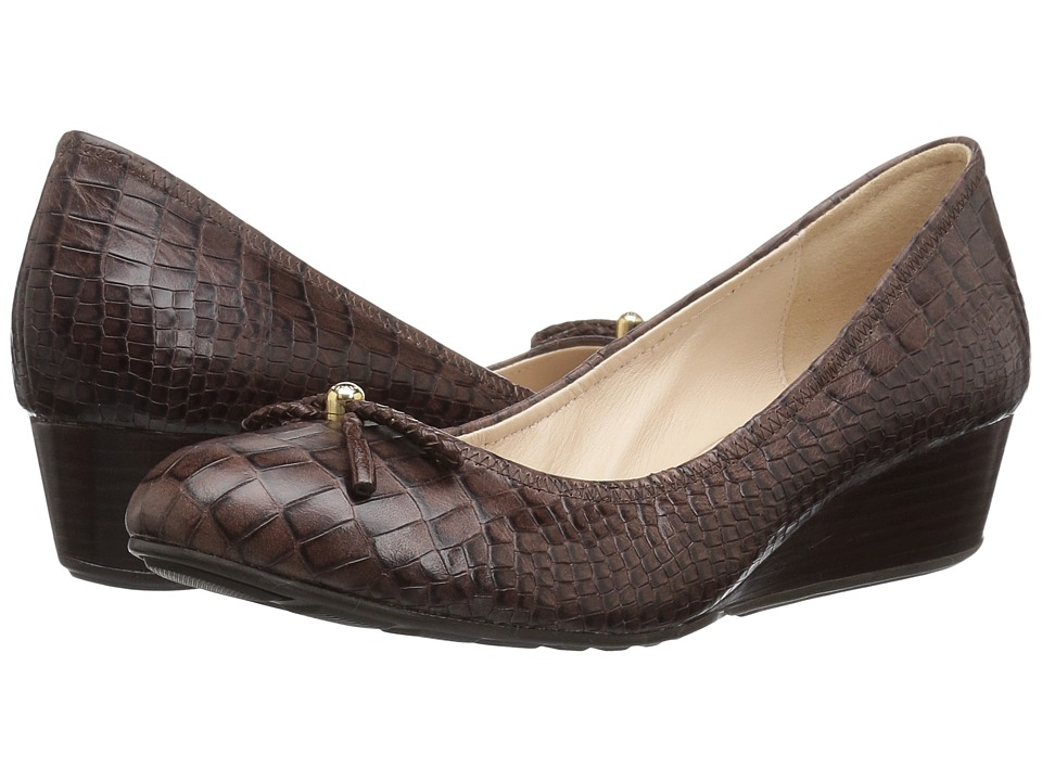 Cole Haan Tali Grand Lace Wedge 40 (Chestnut Croc Print) Women