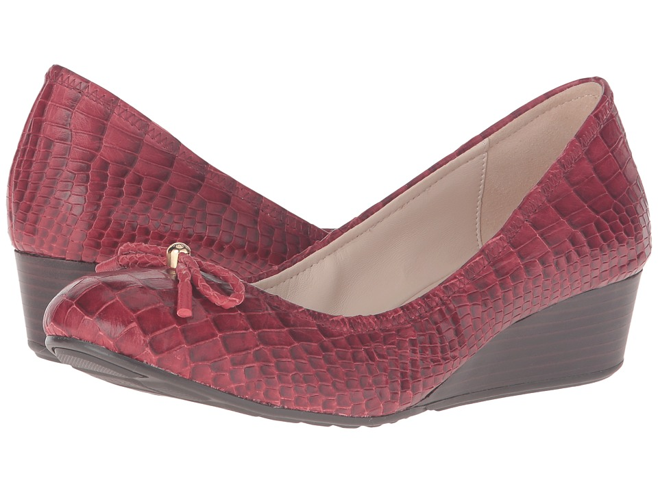 Cole Haan - Tali Grand Lace Wedge 40 (Tango Red Croc Print) Women's Slip on Shoes
