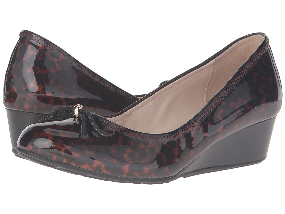 Cole Haan - Tali Grand Lace Wedge 40 (Tortoise Print/Patent Print) Women's Slip on Shoes