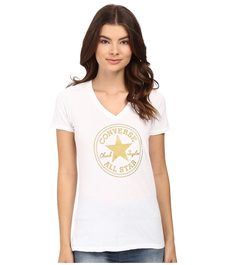 Converse At Once Metallic Core Patch Tee (White) Women