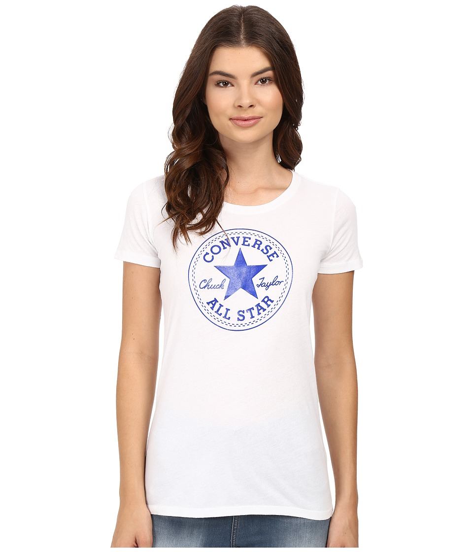 Converse At Once Patent Core Patch Tee (Blue) Women