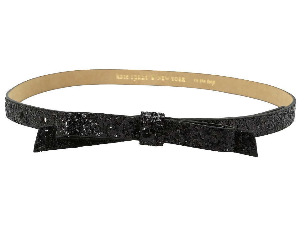 Kate Spade New York - 5/8 Glitter Classic Bow Belt (Black) Women's Belts