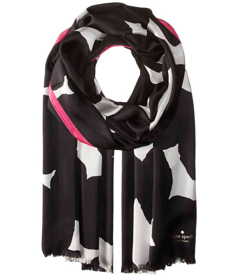 Kate Spade New York - Blot Dot Silk Oblong Scarf (Black) Scarves