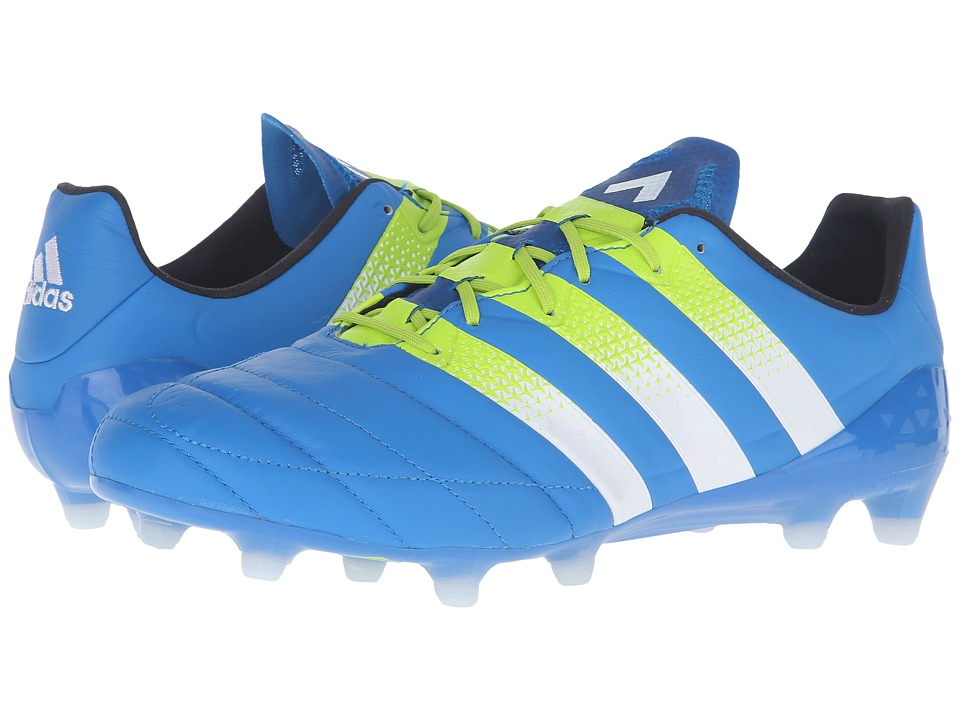 adidas - Ace 16.1 FG/AG Leather (Shock Blue/Solar Slime/White) Men's Shoes