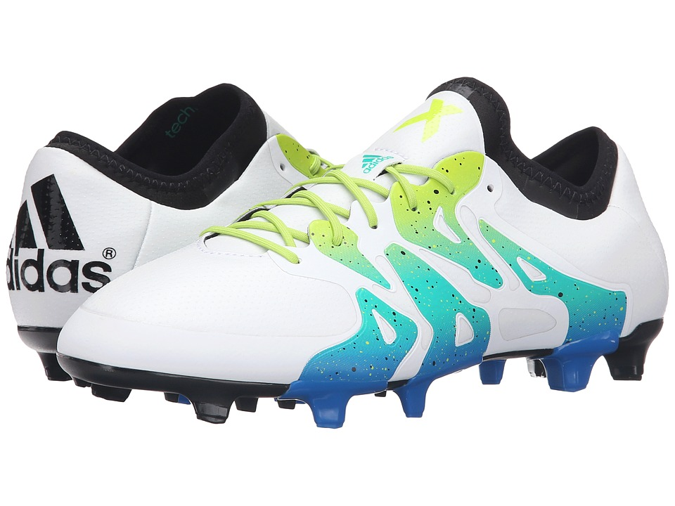 adidas - X 15.1 FG/AG (White/Semi Solar Slime/Black) Men's Shoes