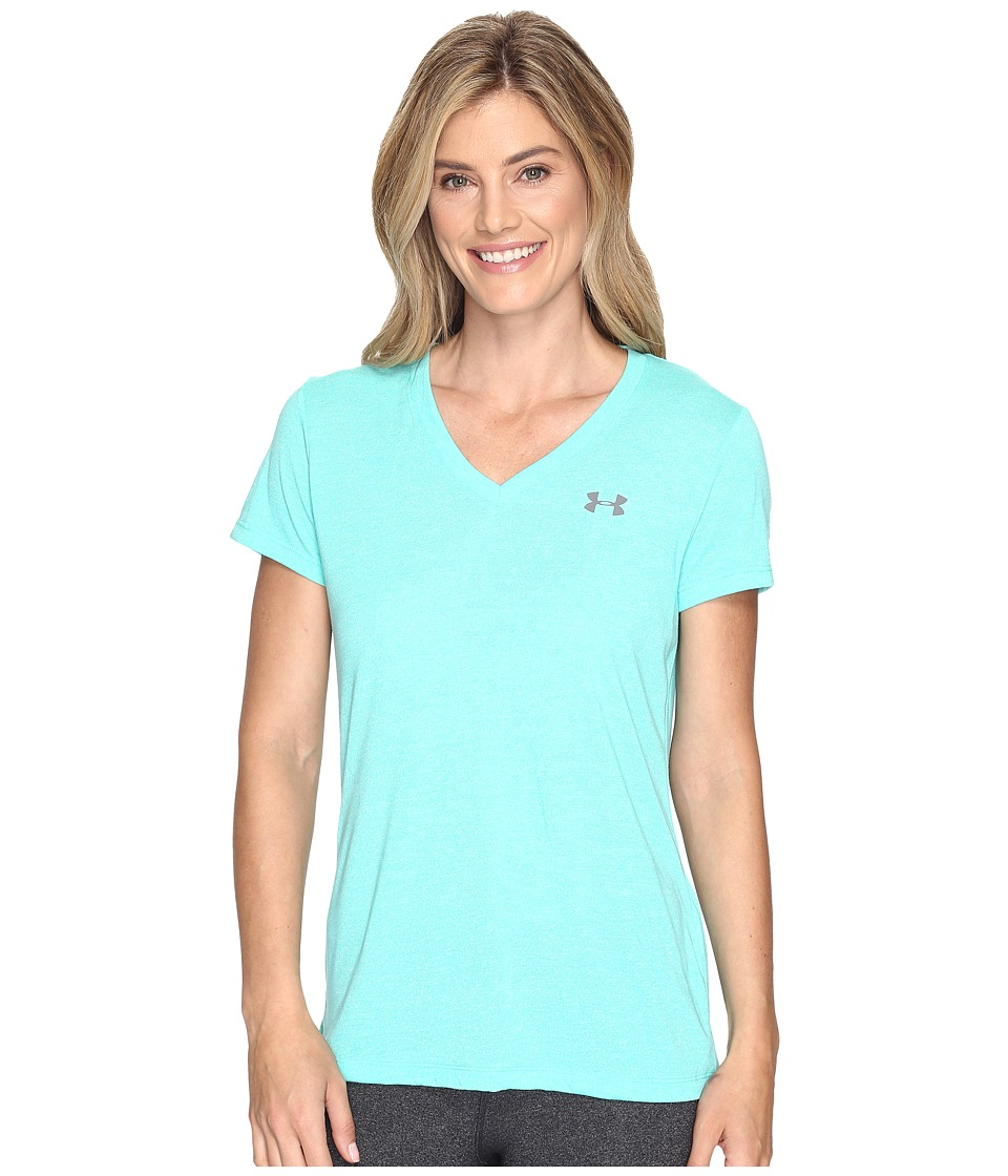 Under Armour - Threadborne Train Short Sleeve V-Neck Twist (Absinthe Green) Women's Clothing
