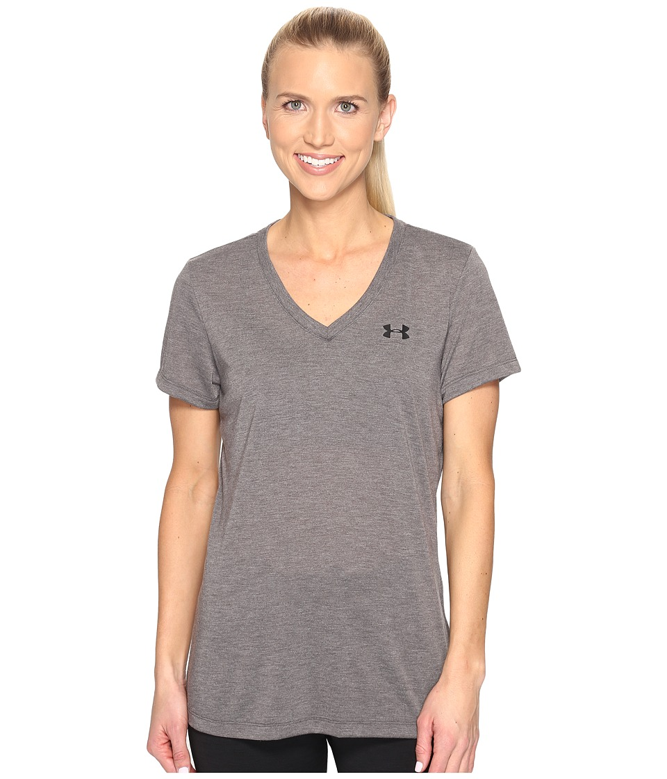 Under Armour - Threadborne Train Short Sleeve V-Neck (Carbon Heather) Women's Clothing