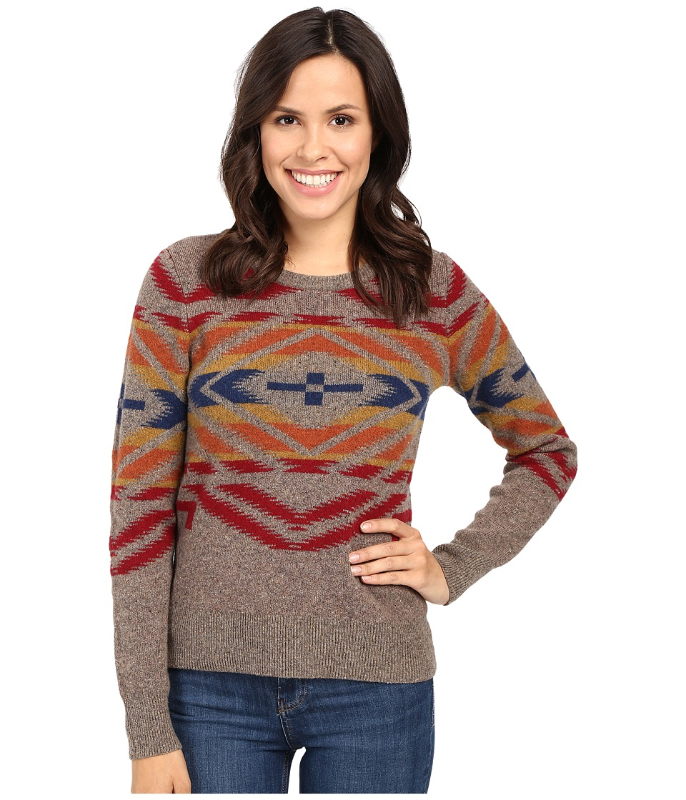 Pendleton - Sunset Cross Pullover (Soft Brown Tweed/Multi) Women's Sweater