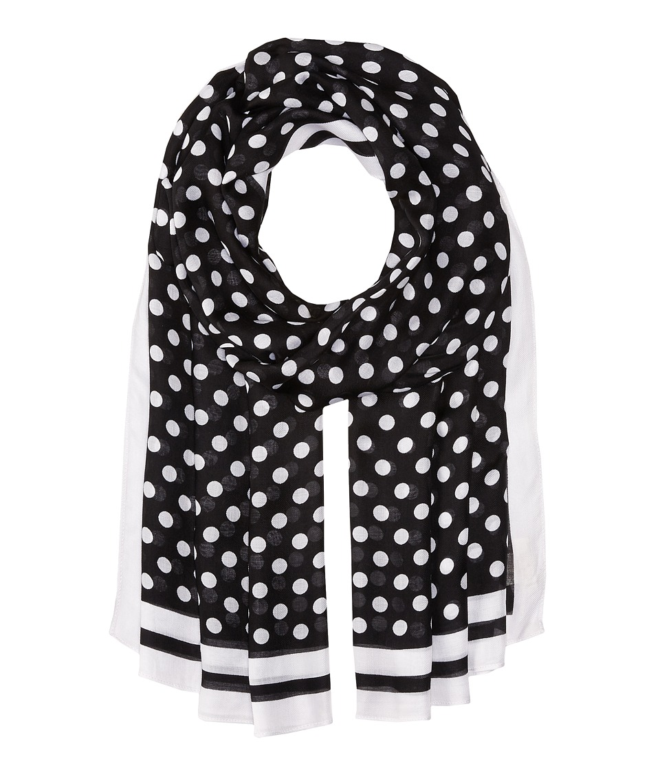 Kate Spade New York - Polka Dot w/ Stripe Oblong Scarf (Black) Scarves