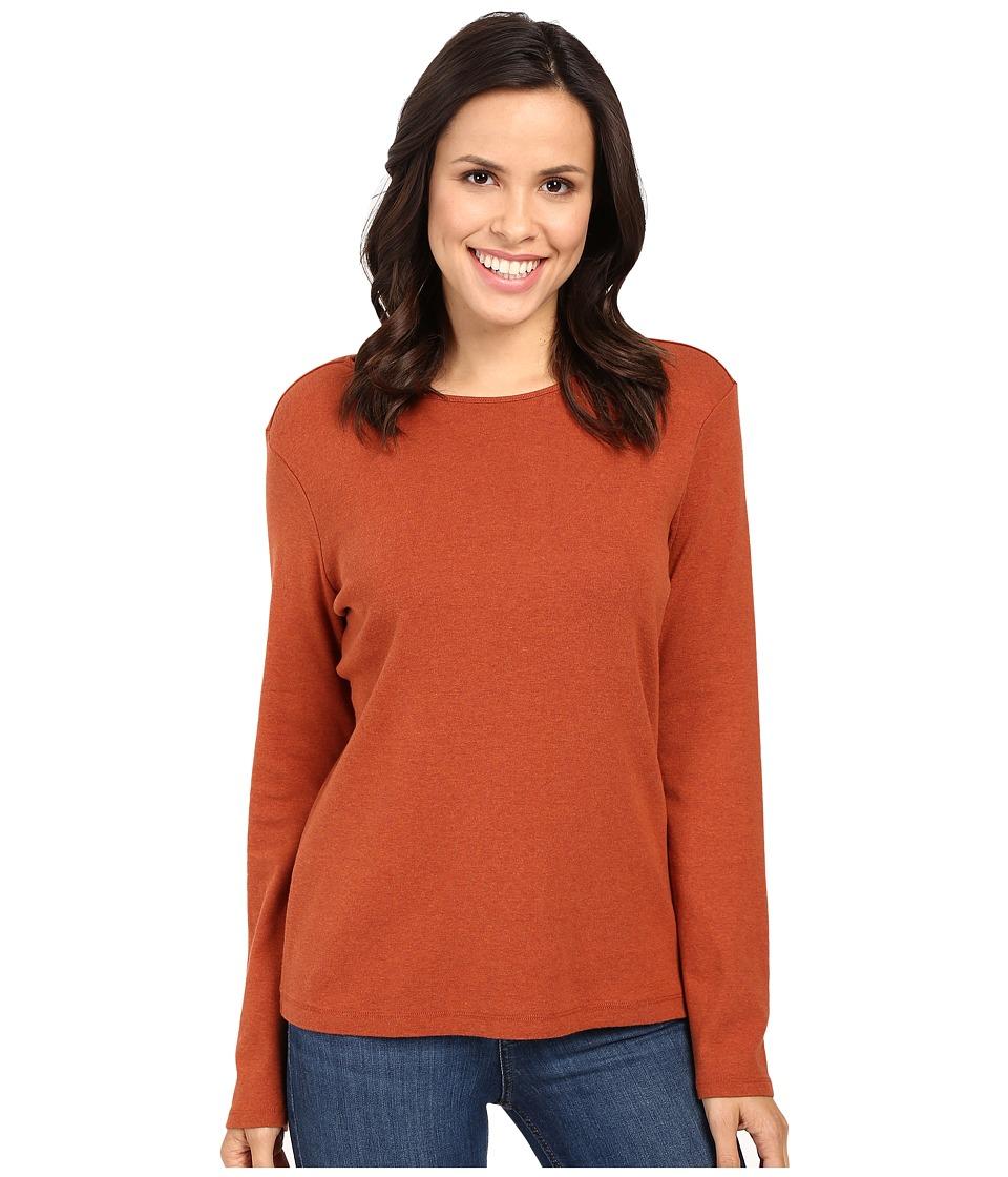 Pendleton - L/S Jewel Neck Cotton Rib Tee (Arabian Spice Heather) Women's Long Sleeve Pullover